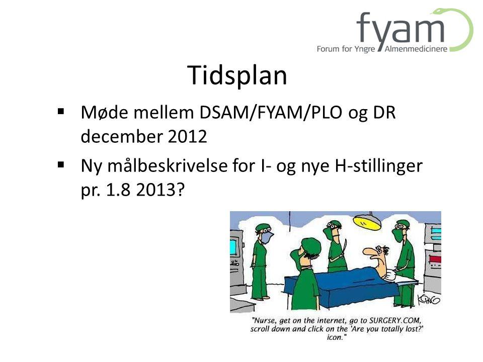 Tidsplan Møde mellem DSAM/FYAM/PLO og DR december 2012