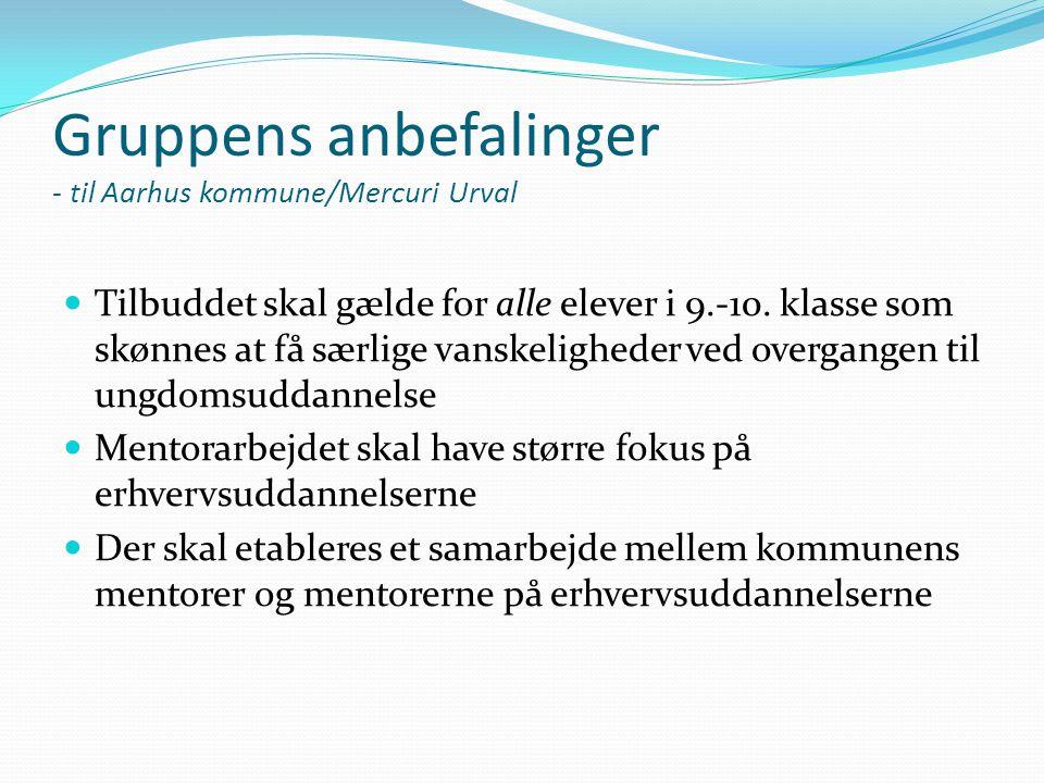 Gruppens anbefalinger - til Aarhus kommune/Mercuri Urval