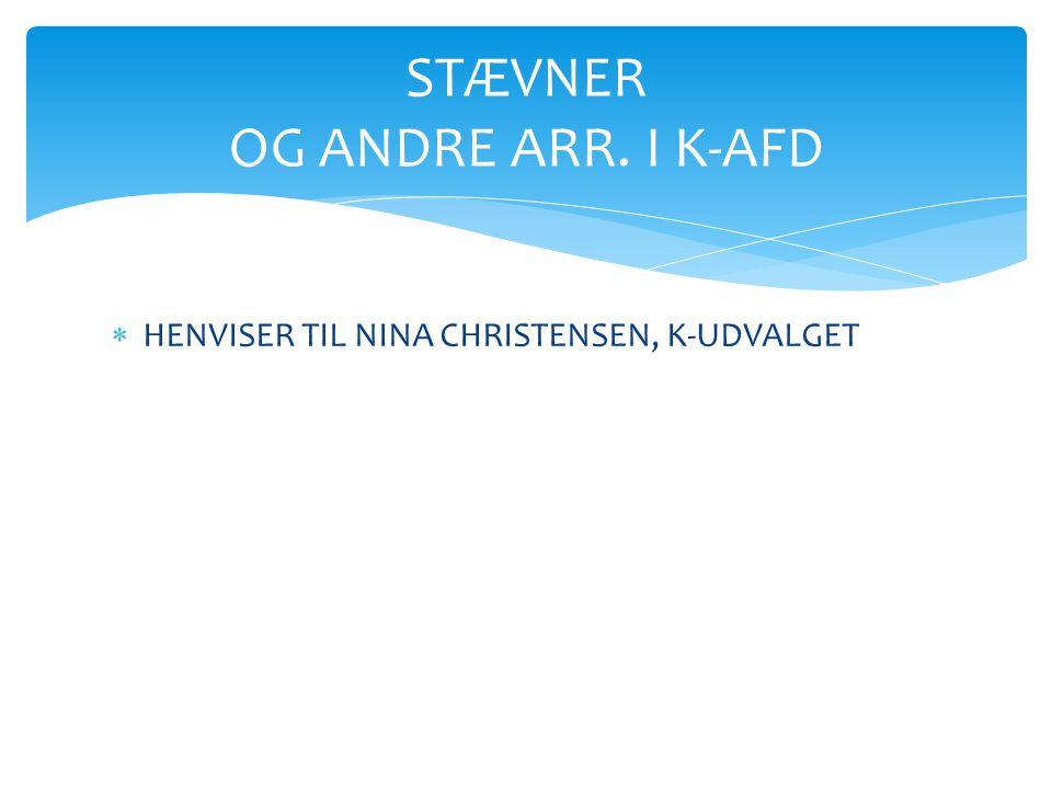 STÆVNER OG ANDRE ARR. I K-AFD