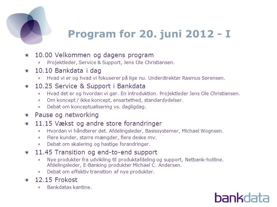 Program for 20. juni 2012 - I 10.00 Velkommen og dagens program