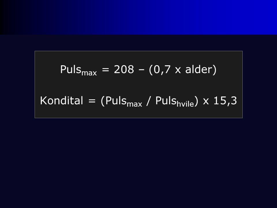 Kondital = (Pulsmax / Pulshvile) x 15,3
