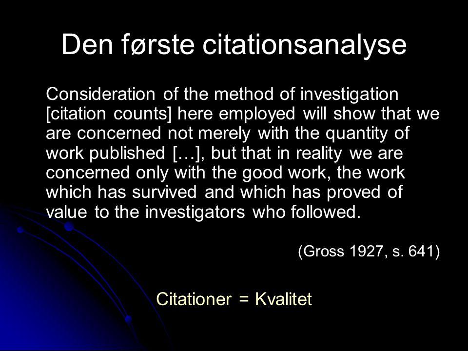 Den første citationsanalyse