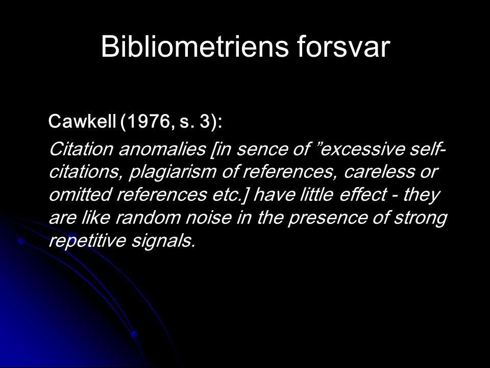 Bibliometriens forsvar