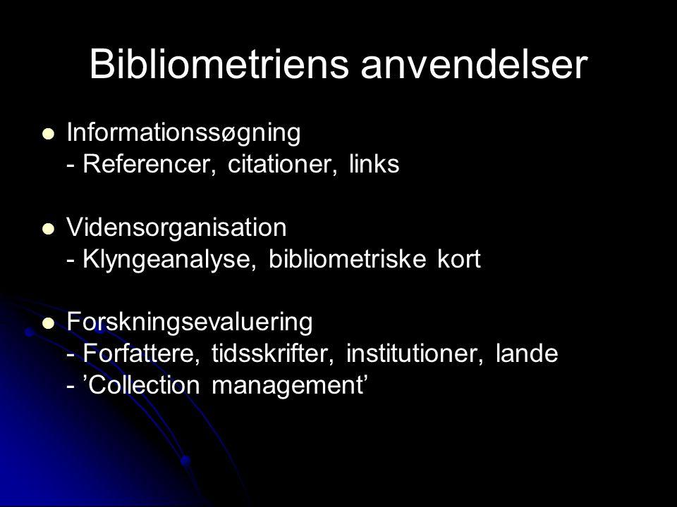 Bibliometriens anvendelser