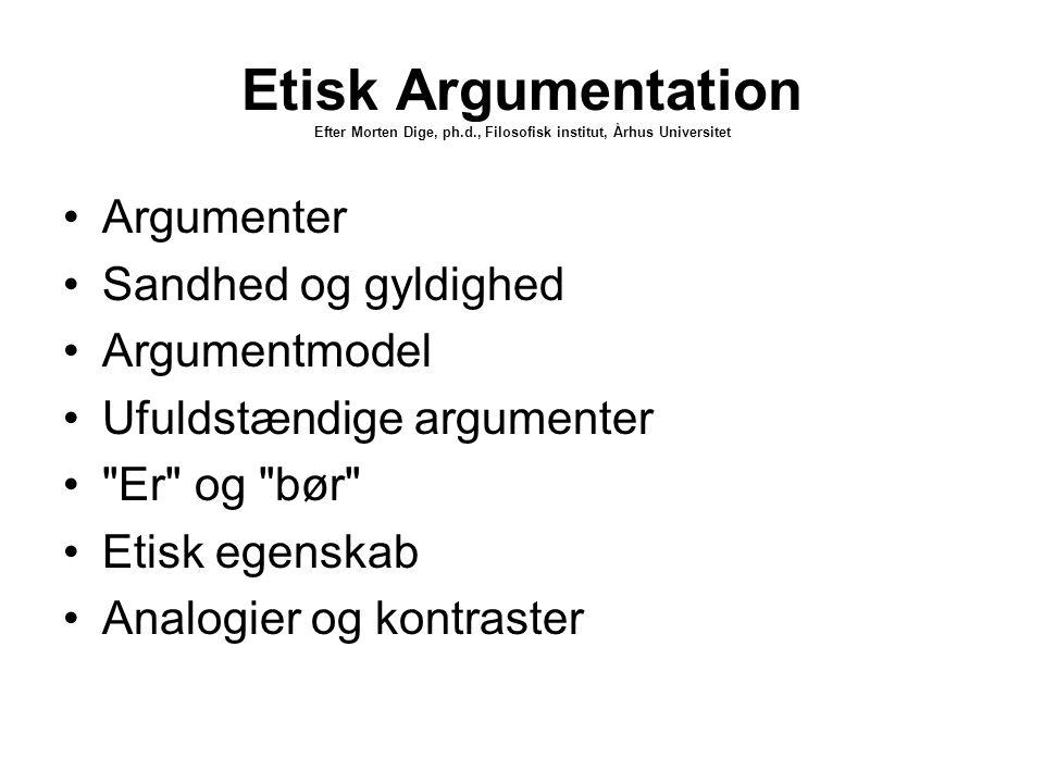 Etisk Argumentation Efter Morten Dige, ph. d