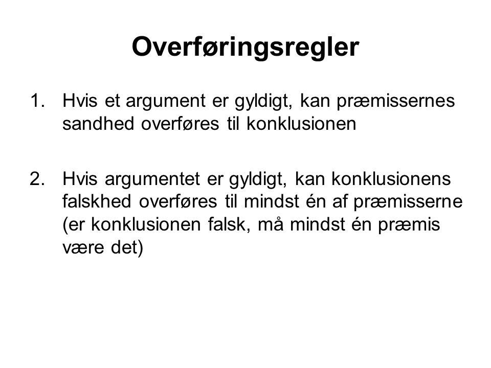 Overføringsregler 1. Hvis et argument er gyldigt, kan præmissernes sandhed overføres til konklusionen.