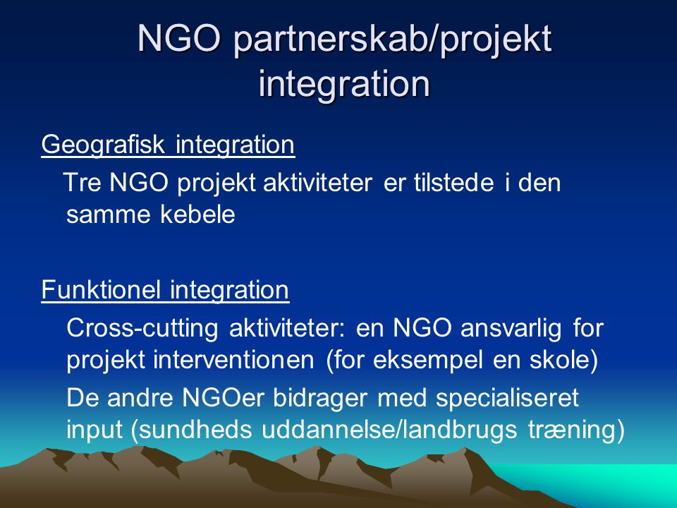 NGO partnerskab/projekt integration