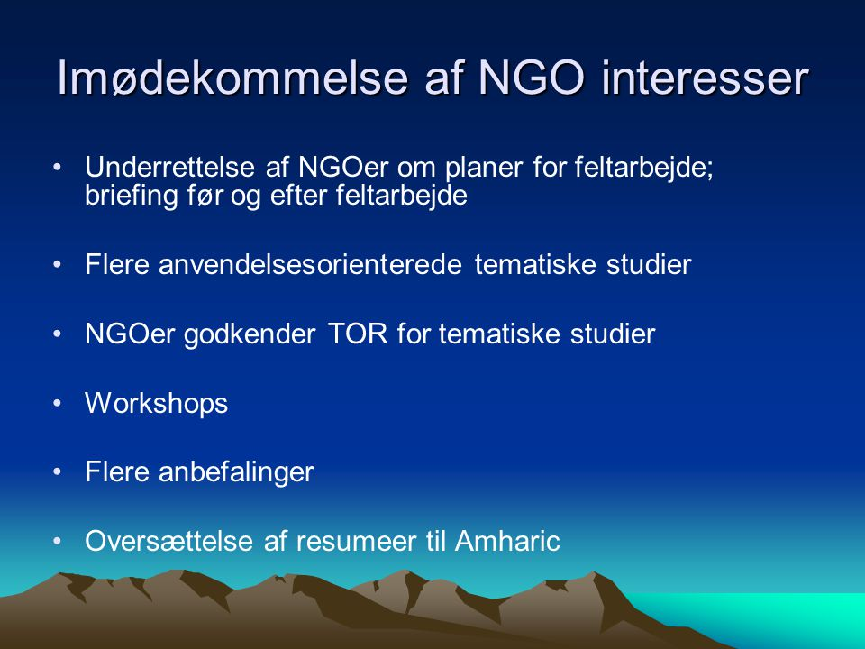 Imødekommelse af NGO interesser