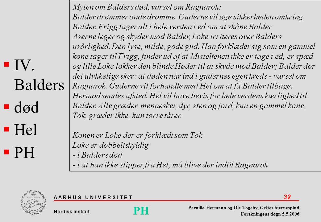 IV. Balders død Hel PH PH Myten om Balders død, varsel om Ragnarok: