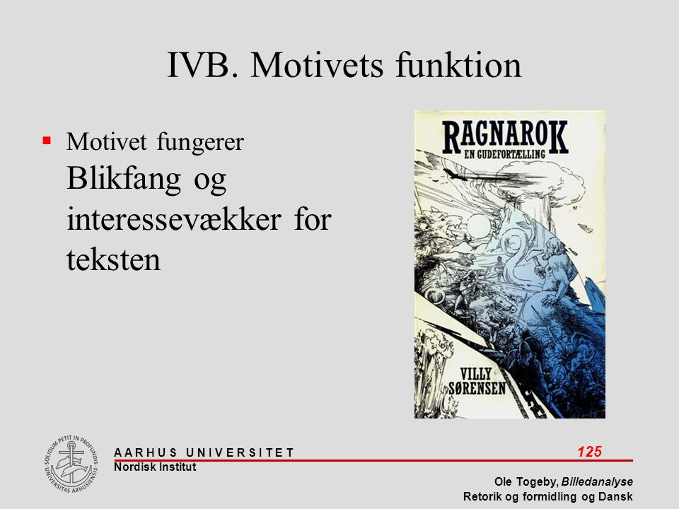 IVB. Motivets funktion Motivet fungerer Blikfang og interessevækker for teksten