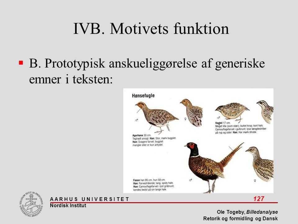 IVB. Motivets funktion B. Prototypisk anskueliggørelse af generiske emner i teksten: