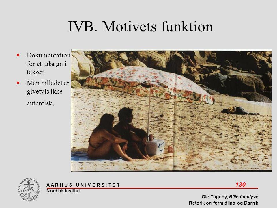 IVB. Motivets funktion Dokumentation for et udsagn i teksen.