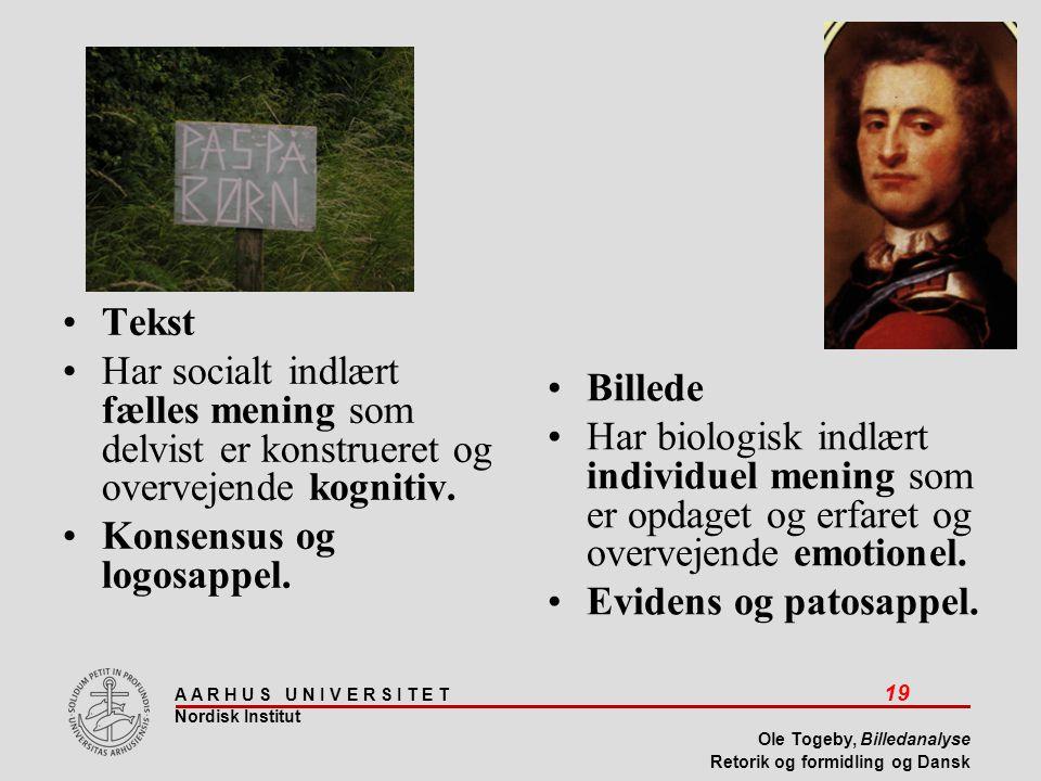 Tekst Har socialt indlært fælles mening som delvist er konstrueret og overvejende kognitiv. Konsensus og logosappel.