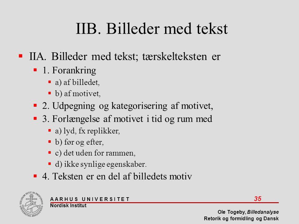 IIB. Billeder med tekst IIA. Billeder med tekst; tærskelteksten er