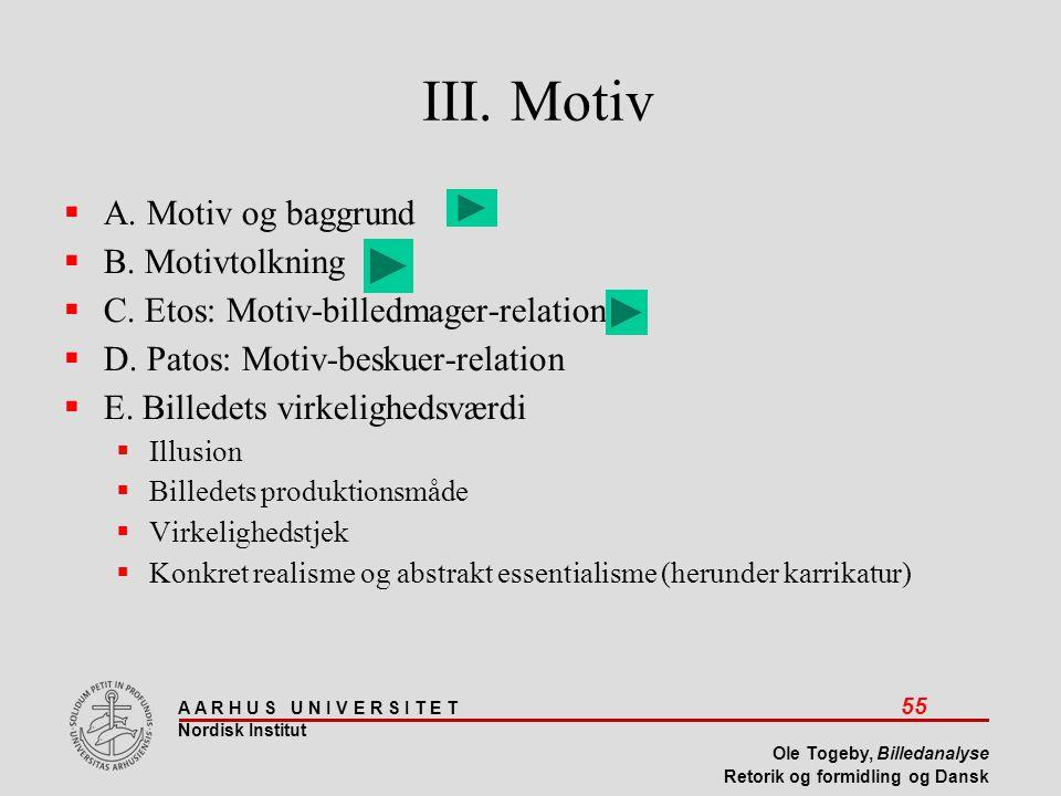 III. Motiv A. Motiv og baggrund B. Motivtolkning