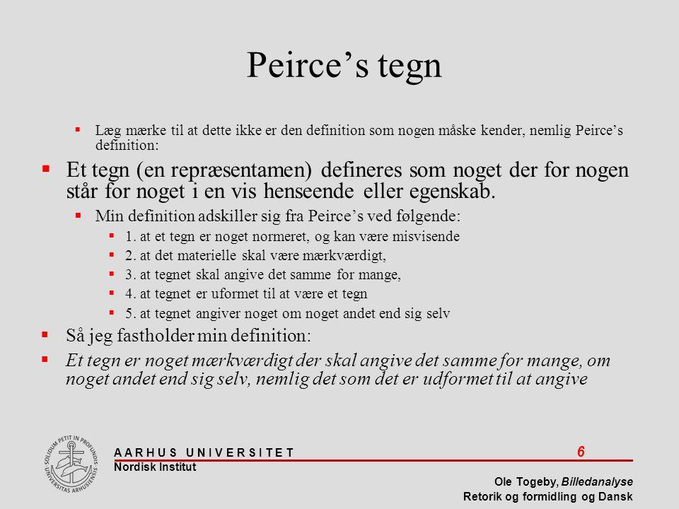 Peirce's tegn Læg mærke til at dette ikke er den definition som nogen måske kender, nemlig Peirce's definition: