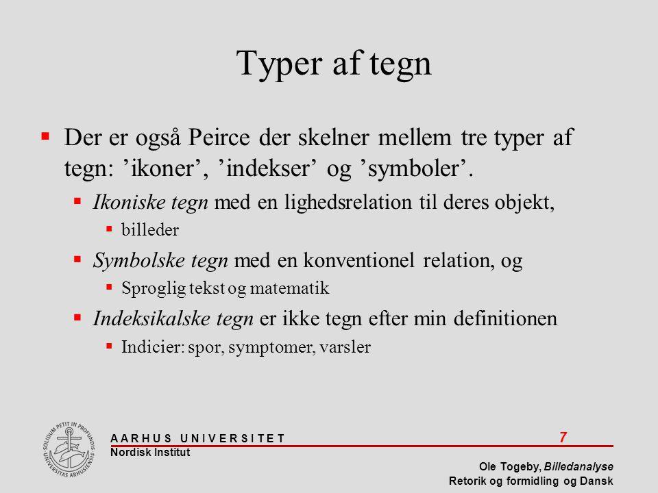 Typer af tegn Der er også Peirce der skelner mellem tre typer af tegn: 'ikoner', 'indekser' og 'symboler'.