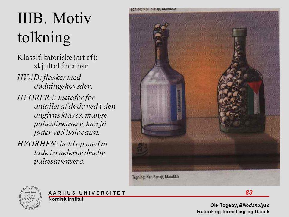 IIIB. Motiv tolkning Klassifikatoriske (art af): skjult el åbenbar.