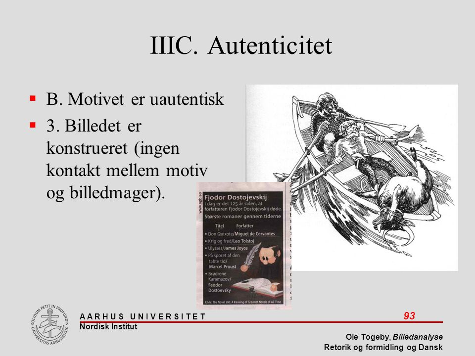 IIIC. Autenticitet B. Motivet er uautentisk