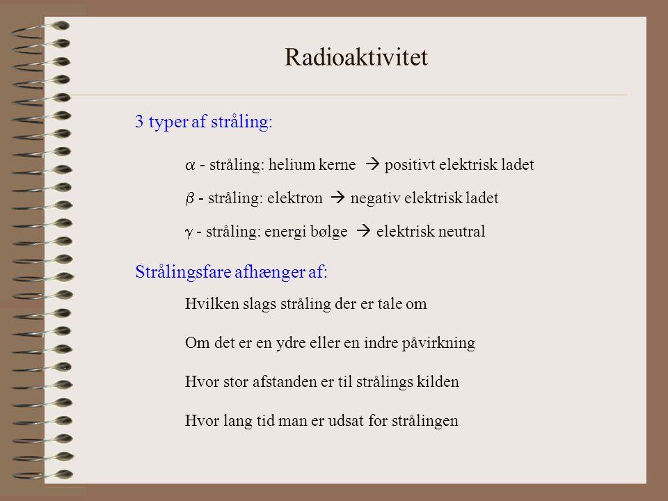 Radioaktivitet 3 typer af stråling: Strålingsfare afhænger af: