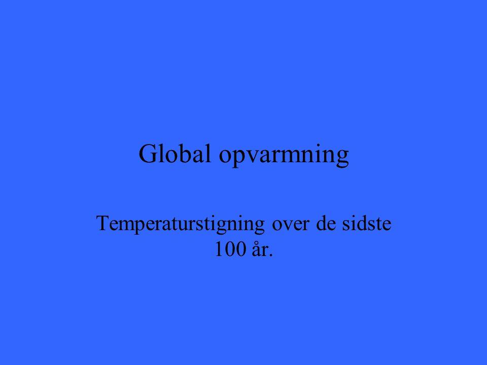 Temperaturstigning over de sidste 100 år.