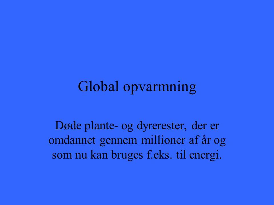 Global opvarmning Døde plante- og dyrerester, der er omdannet gennem millioner af år og som nu kan bruges f.eks.
