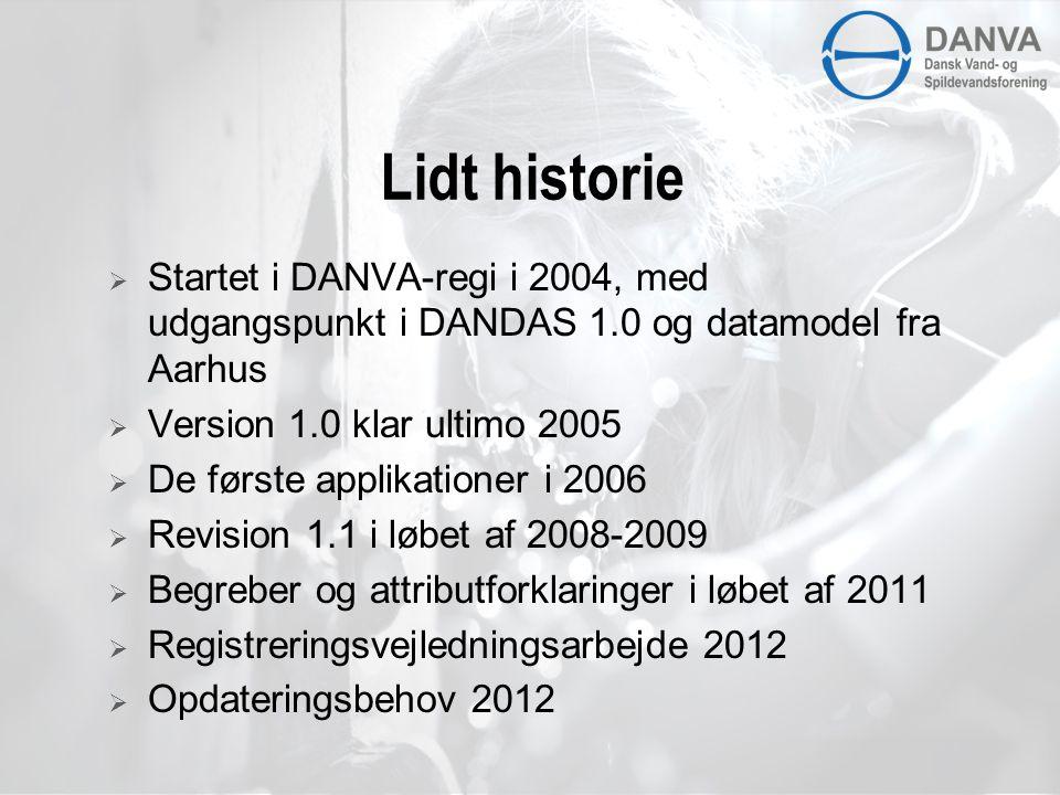 Lidt historie Startet i DANVA-regi i 2004, med udgangspunkt i DANDAS 1.0 og datamodel fra Aarhus. Version 1.0 klar ultimo 2005.