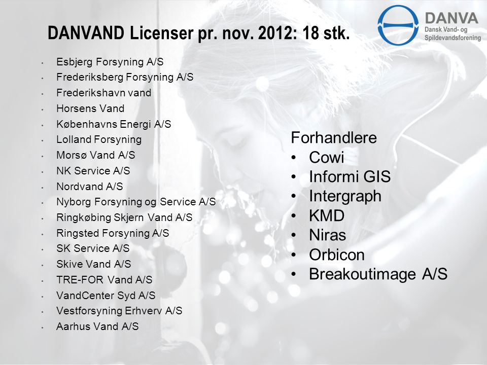 DANVAND Licenser pr. nov. 2012: 18 stk.