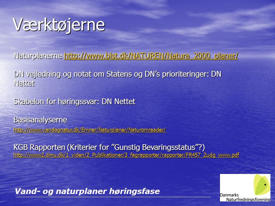 Værktøjerne Naturplanerne http://www.blst.dk/NATUREN/Natura_2000_planer/ DN vejledning og notat om Statens og DN's prioriteringer: DN Nettet.
