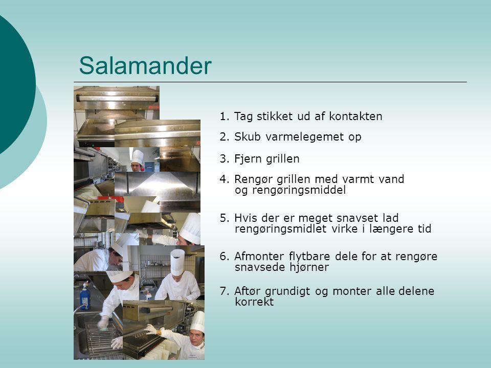 Salamander 1. Tag stikket ud af kontakten 2. Skub varmelegemet op