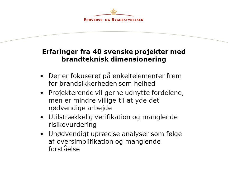 Erfaringer fra 40 svenske projekter med brandteknisk dimensionering