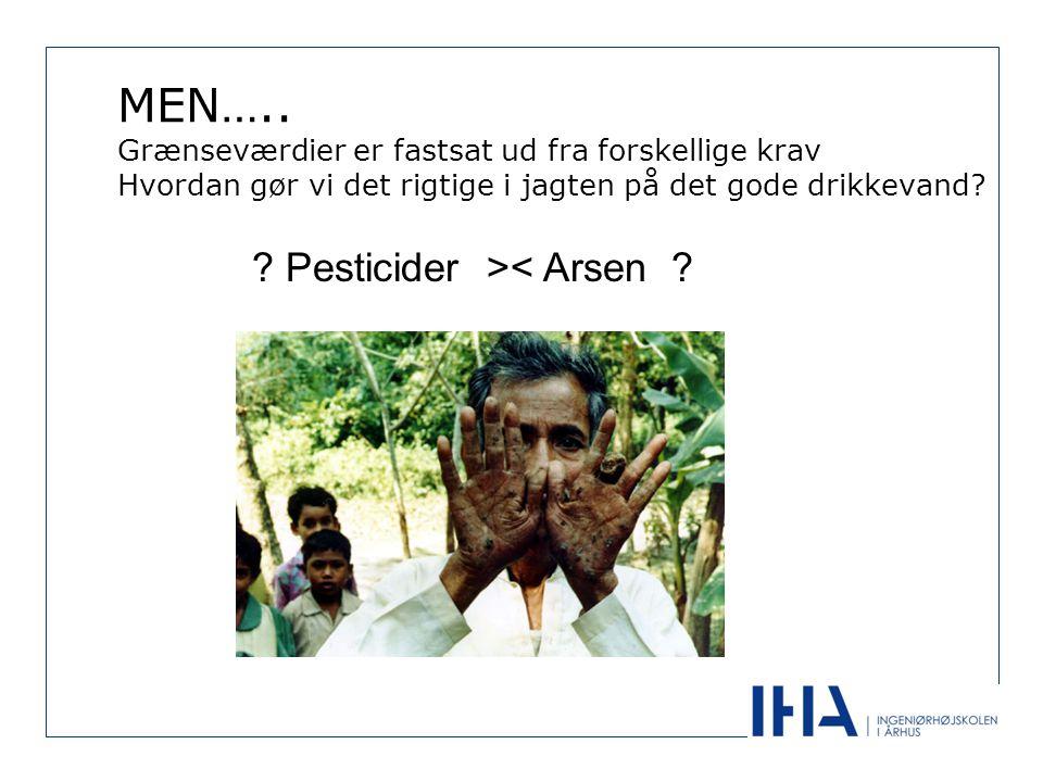 MEN….. Grænseværdier er fastsat ud fra forskellige krav Hvordan gør vi det rigtige i jagten på det gode drikkevand