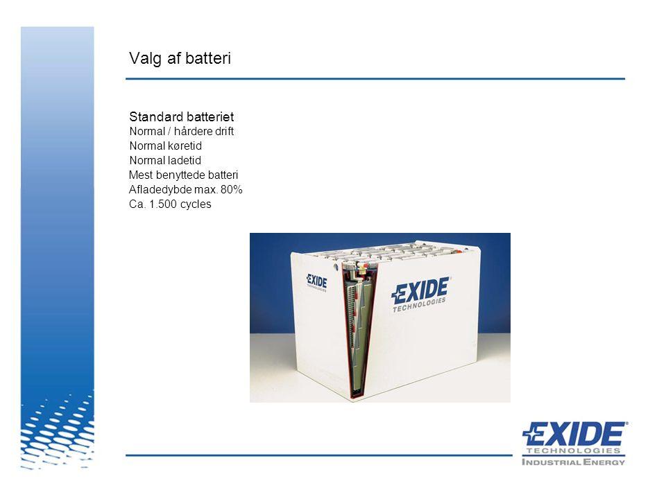 Valg af batteri Standard batteriet Normal / hårdere drift