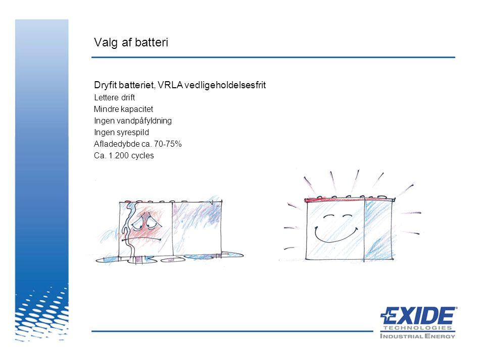 Valg af batteri Dryfit batteriet, VRLA vedligeholdelsesfrit