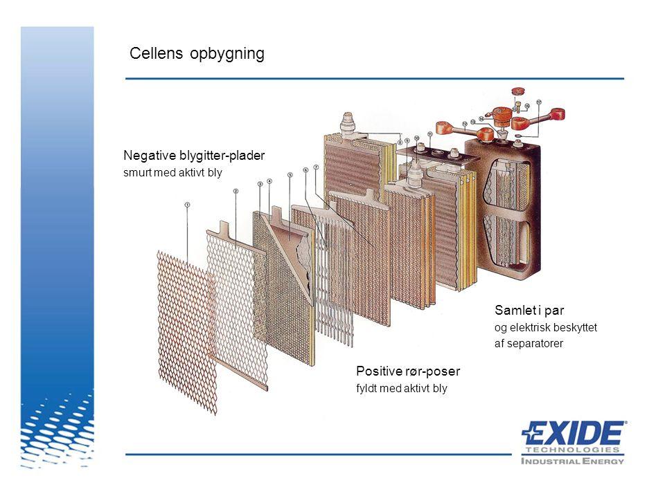 Cellens opbygning Negative blygitter-plader Samlet i par