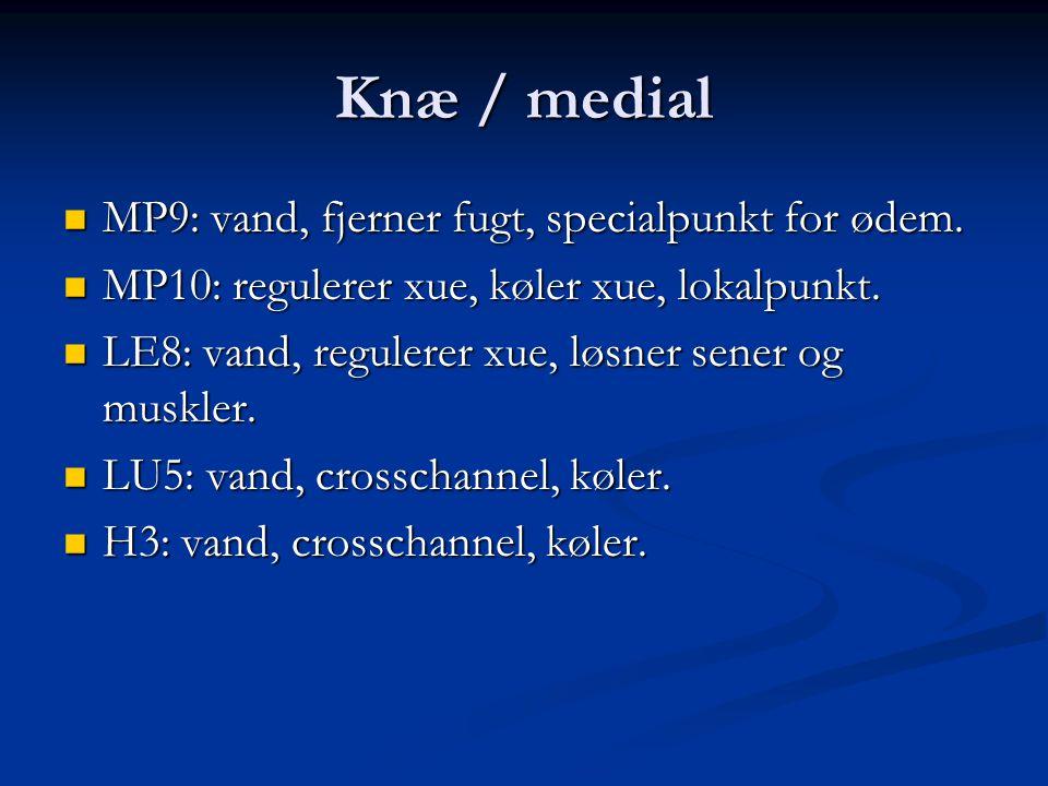 Knæ / medial MP9: vand, fjerner fugt, specialpunkt for ødem.
