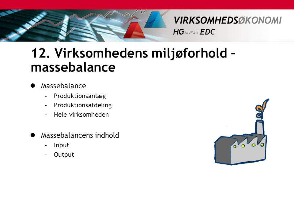12. Virksomhedens miljøforhold – massebalance