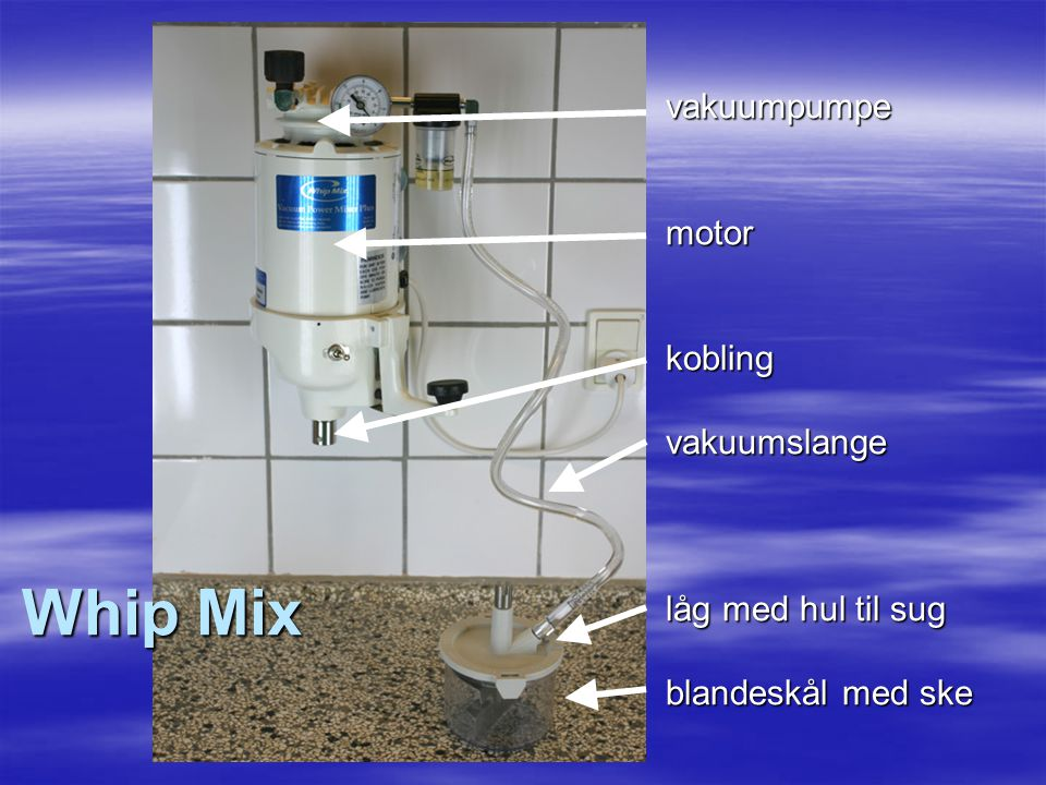 Whip Mix vakuumpumpe motor kobling vakuumslange låg med hul til sug