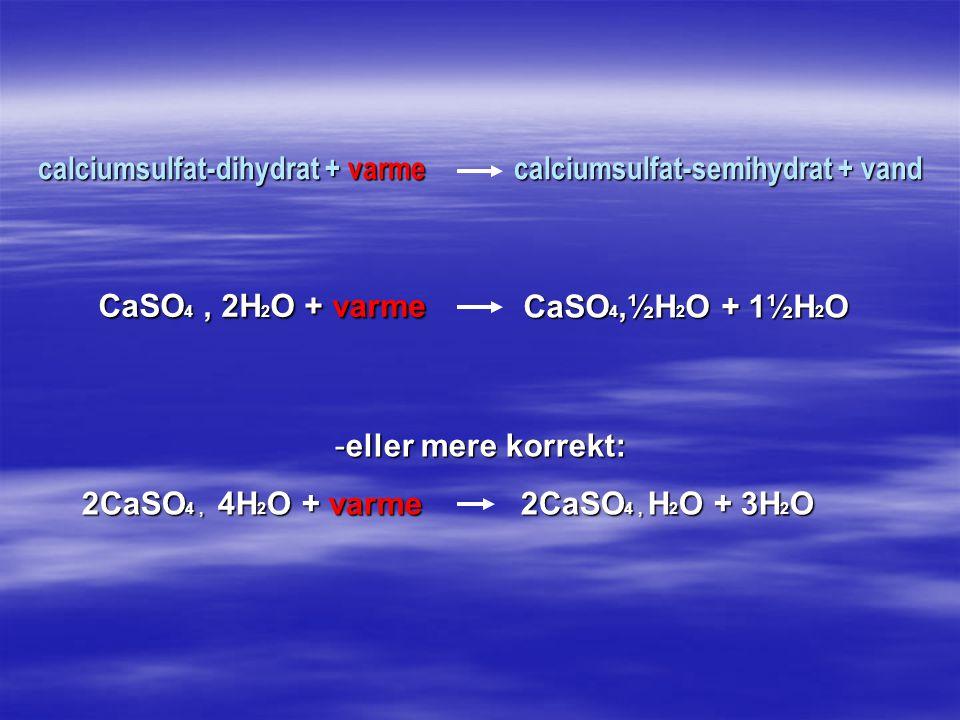 calciumsulfat-dihydrat + varme calciumsulfat-semihydrat + vand