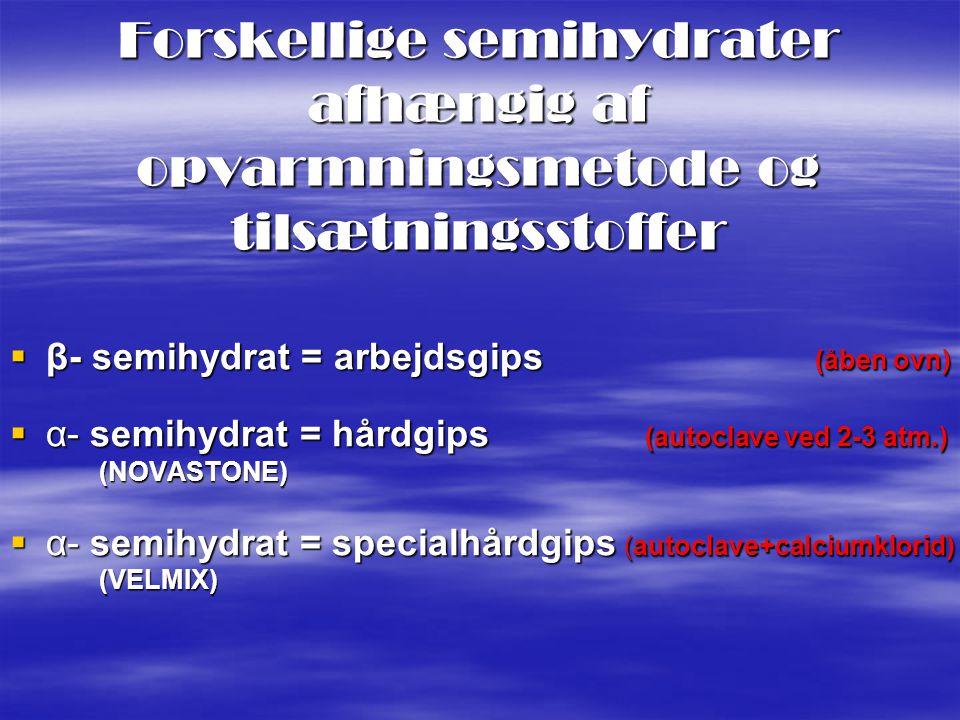 Forskellige semihydrater afhængig af opvarmningsmetode og tilsætningsstoffer
