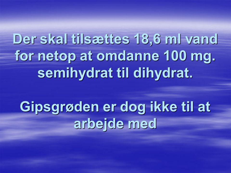 Der skal tilsættes 18,6 ml vand for netop at omdanne 100 mg