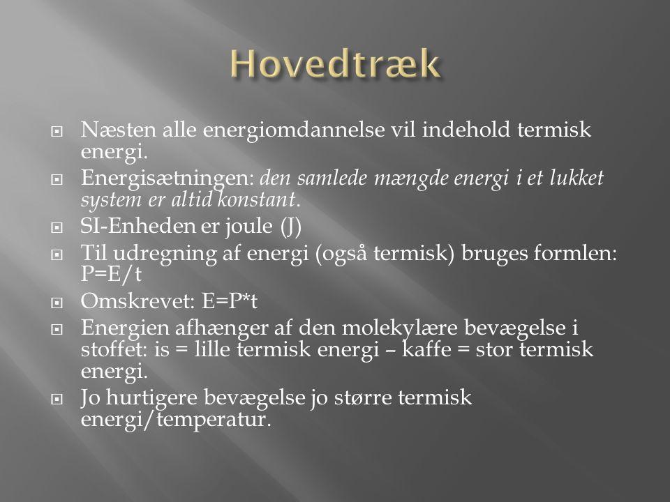 Hovedtræk Næsten alle energiomdannelse vil indehold termisk energi.