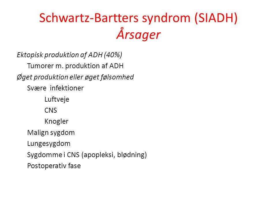 Schwartz-Bartters syndrom (SIADH) Årsager