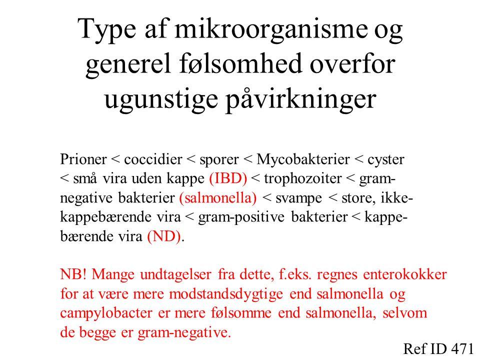 Type af mikroorganisme og generel følsomhed overfor ugunstige påvirkninger