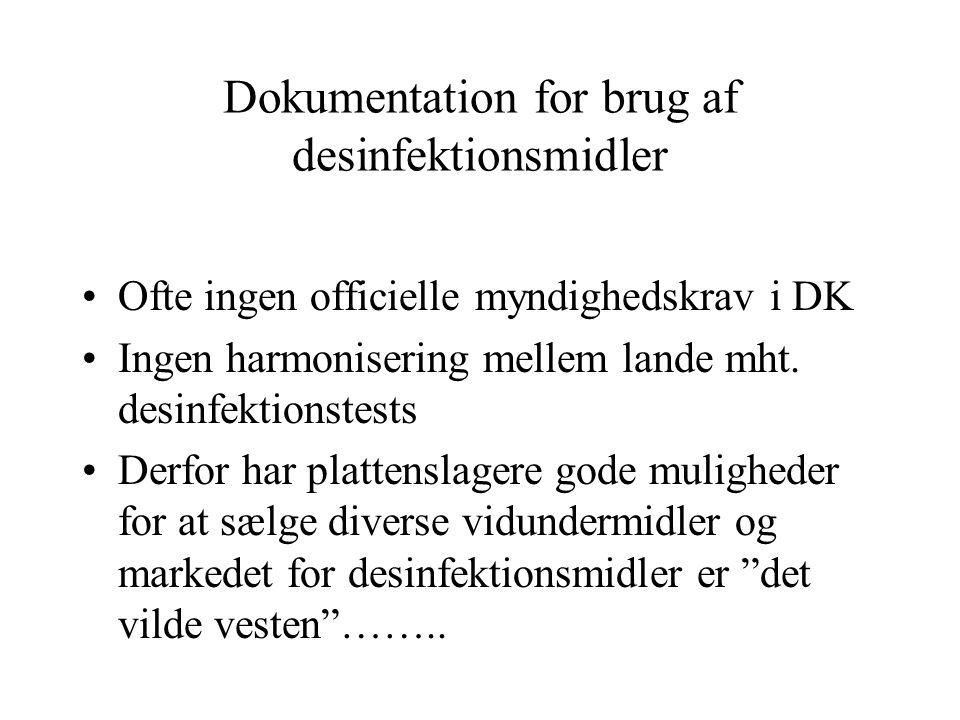 Dokumentation for brug af desinfektionsmidler