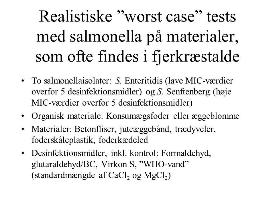 Realistiske worst case tests med salmonella på materialer, som ofte findes i fjerkræstalde