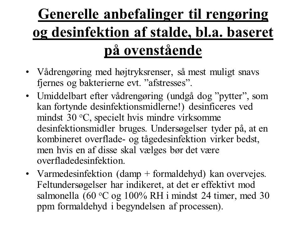 Generelle anbefalinger til rengøring og desinfektion af stalde, bl. a