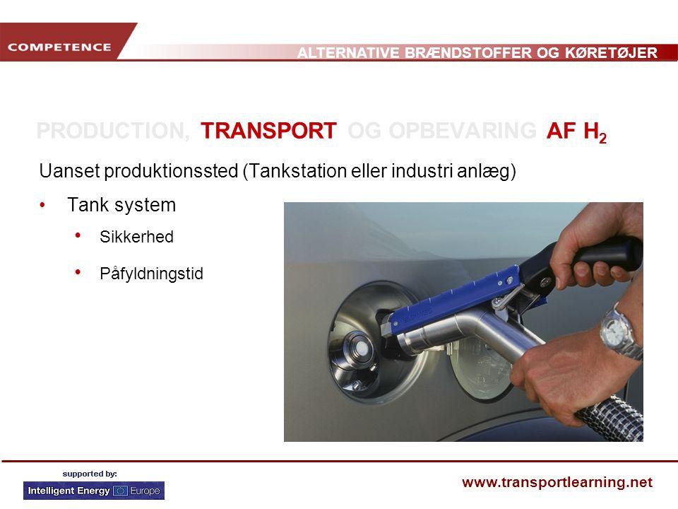PRODUCTION, TRANSPORT OG OPBEVARING AF H2