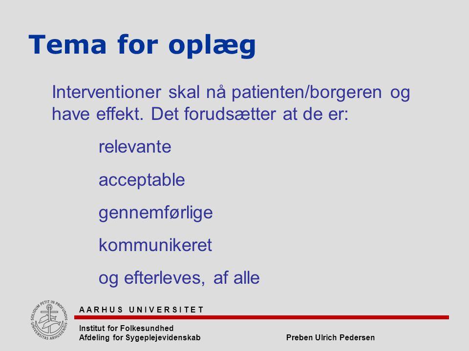 Tema for oplæg Interventioner skal nå patienten/borgeren og have effekt. Det forudsætter at de er: relevante.