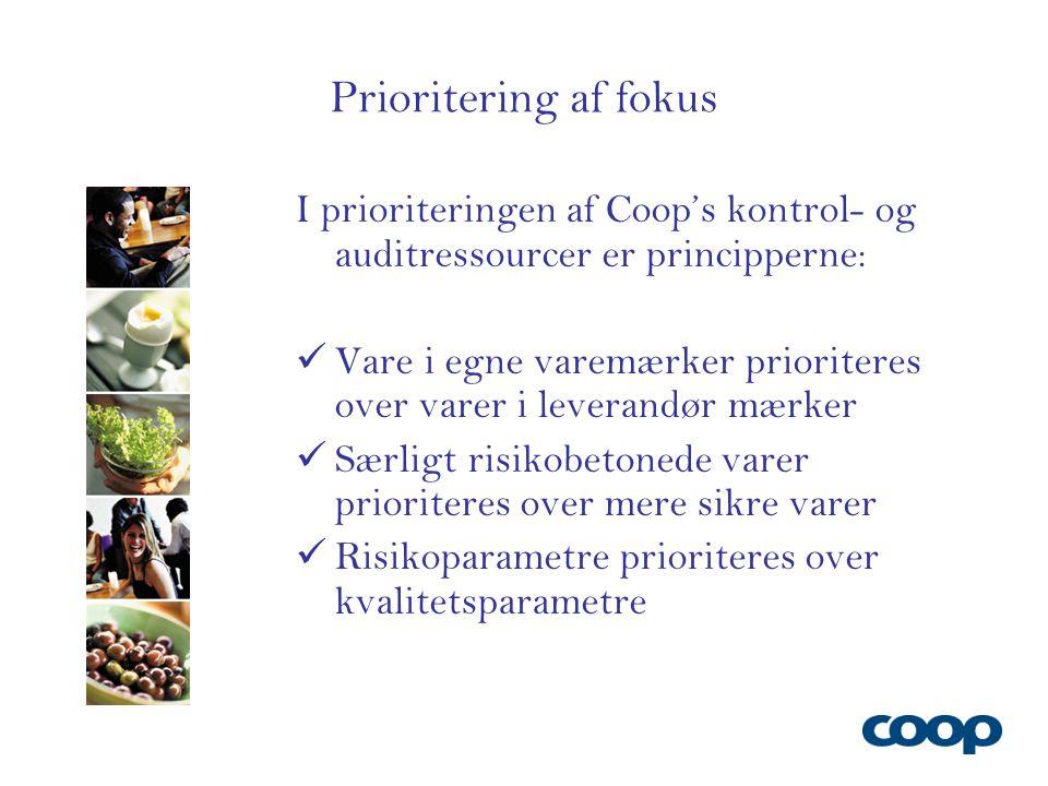 Prioritering af fokus I prioriteringen af Coop's kontrol- og auditressourcer er principperne: